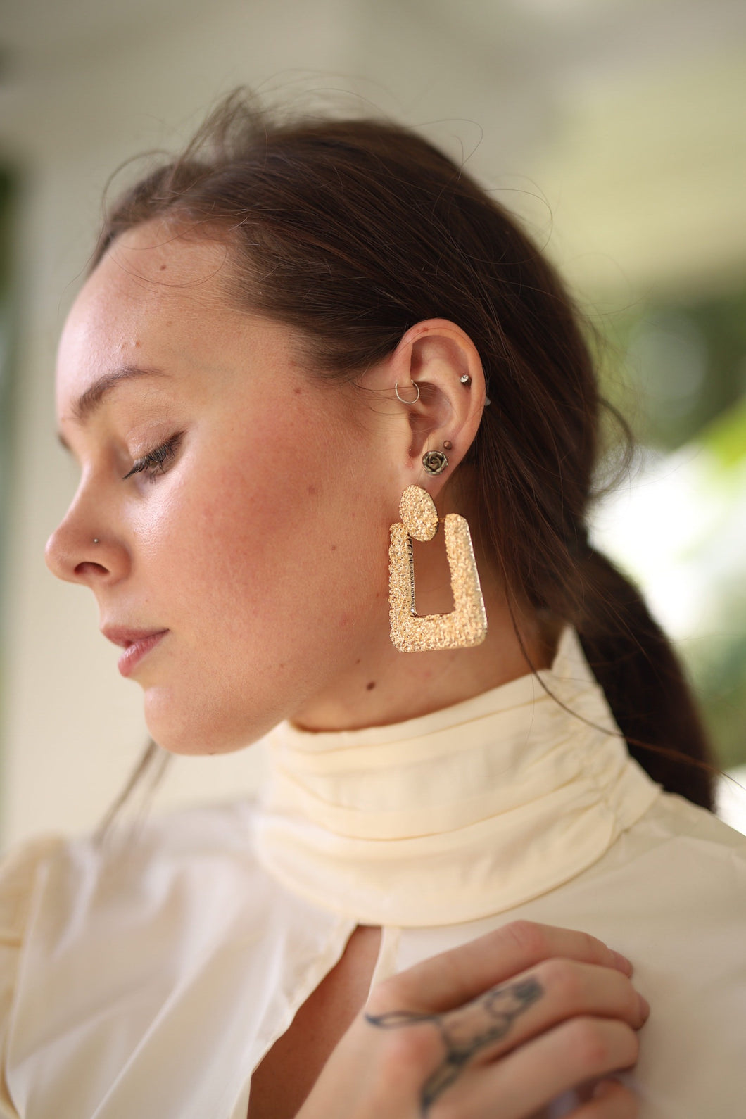textured rectangle drop earring