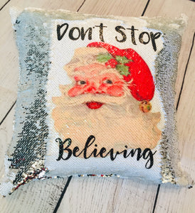 Don't Stop Believing Sublimated Mermaid Pillow