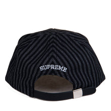 Load image into Gallery viewer, Supreme Pinstripe S Logo 5-Panel Strapback Black/Grey 24163