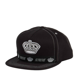 Supreme Crown Logo 5-Panel Snapback Black/White 25719