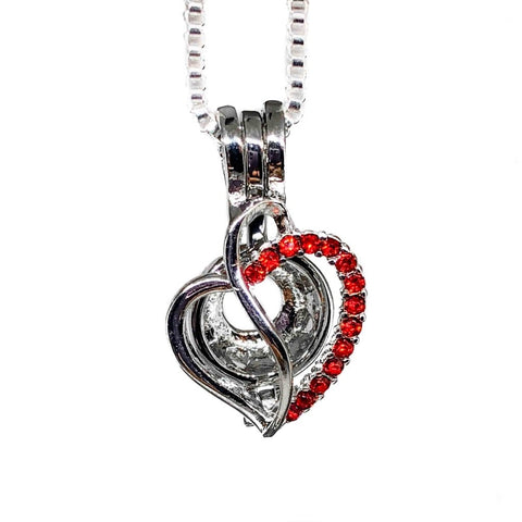 #185 Heart with Red Rhinestones
