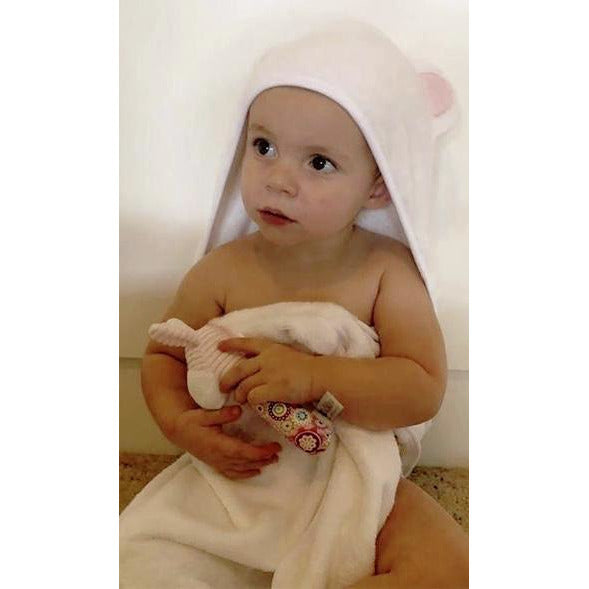 Baby hooded bamboo bath towels & wash cloth  noosabedbodybaby