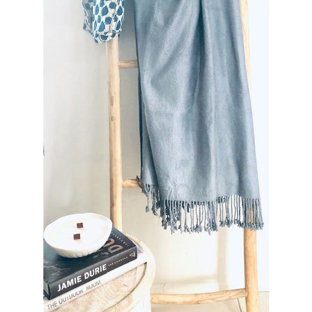 100% Bamboo luxury throw rug with fringe Bamboo Rain - light Blue Grey noosabedbodybaby
