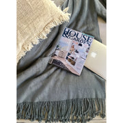 100% Bamboo luxury throw rug with fringe Bamboo Storm - Dark Grey noosabedbodybaby