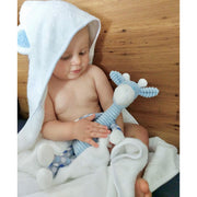 Baby hooded bamboo bath towels & wash cloth Blue ears noosabedbodybaby