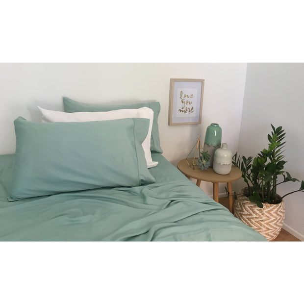 Duvet & Sheet Set - 100% Organic Bamboo King / Tea Tree Green noosabedbodybaby