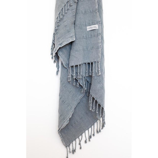 Luxe Stonewash Turkish Towel - bamboo cotton blend Denim Grey noosabedbodybaby
