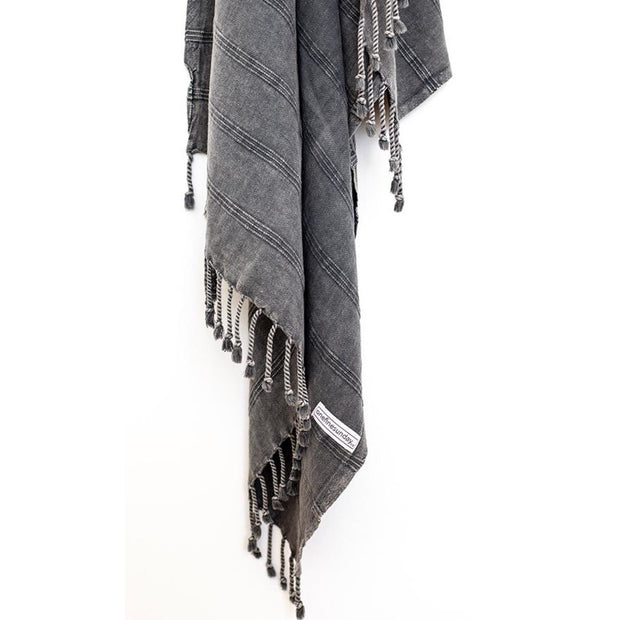 Luxe Stonewash Turkish Towel - bamboo cotton blend Charcoal noosabedbodybaby