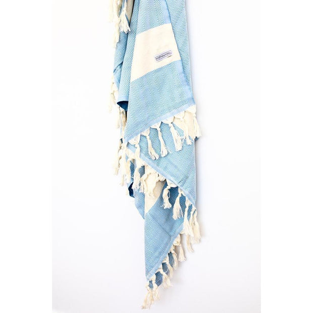 Signature Turkish Towel or Throw Ocean Blue zig zag noosabedbodybaby