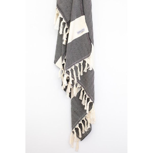 Signature Turkish Towel or Throw Black zig zag noosabedbodybaby