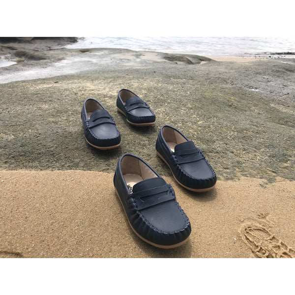 POLO LEATHER NAVY LOAFERS