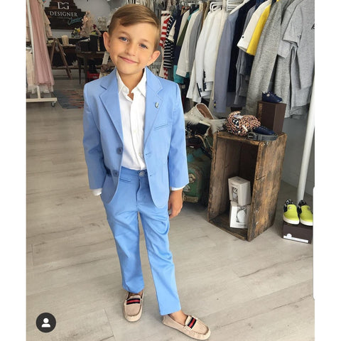 SKY BLUE TWO PIECE SUIT SET