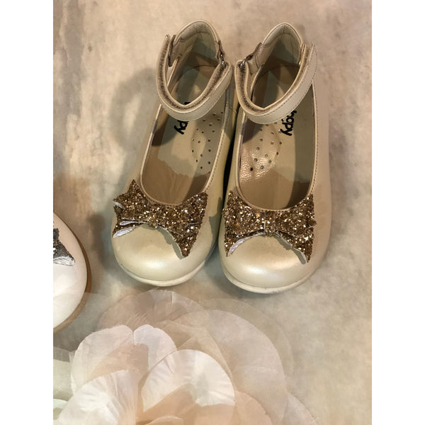 CLARA LEATHER SHOES - BEIGE & GOLD