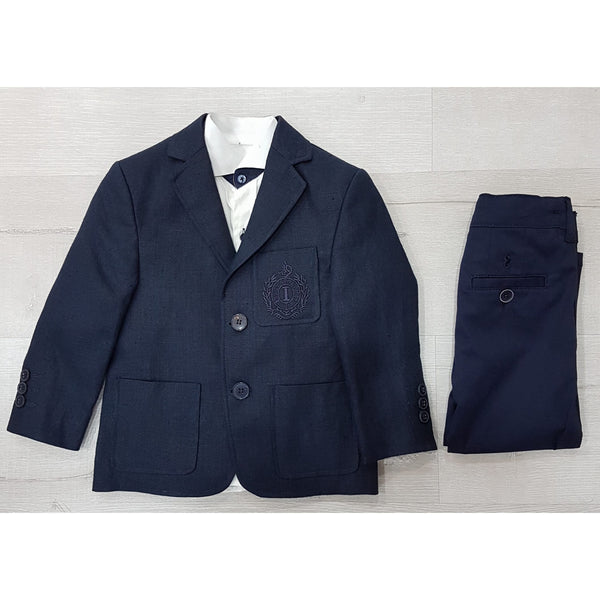 NAVY LINEN THREE PIECE SUIT SET