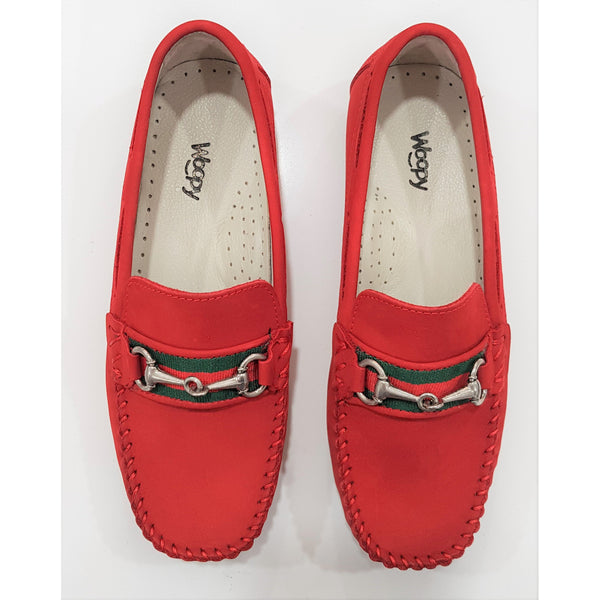 Woopy Suede Romeo Loafers Red