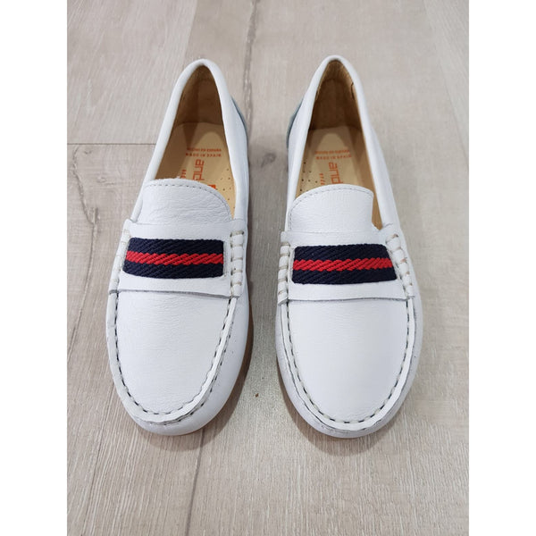 ANDANINES WHITE LEATHER LOAFERS