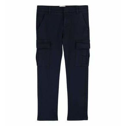 BOYS NAVY STRAIGHT STRETCH COTTON TROUSERS