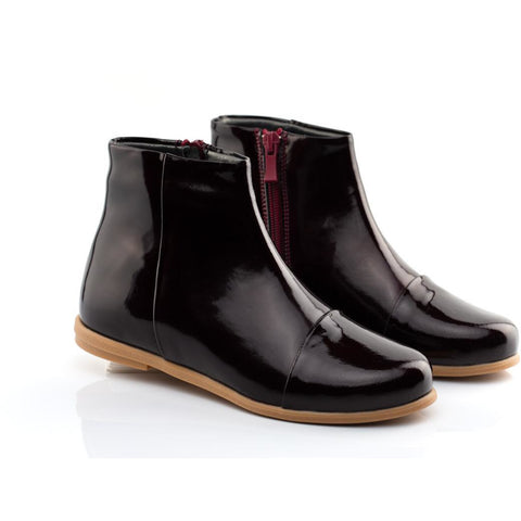 Woopy Leather Bella Ankle Boots Burgundy