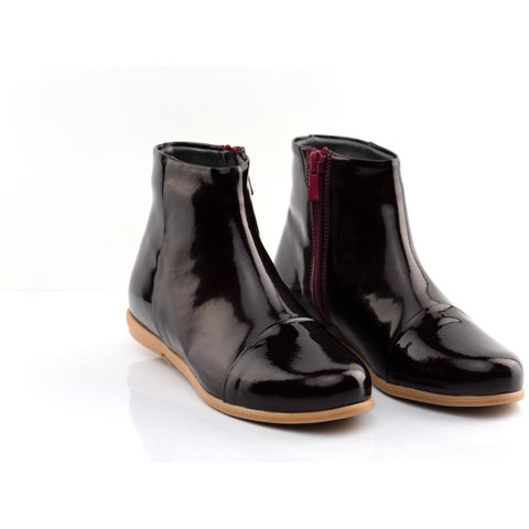 BELLA LEATHER ANKLE BOOTS - BURGUNDY