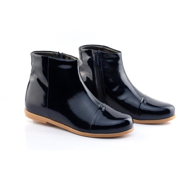 BELLA LEATHER ANKLE BOOTS - NAVY