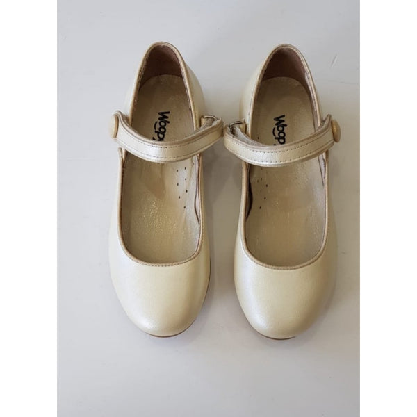 GAIA LEATHER SHOES - PEARL GOLD