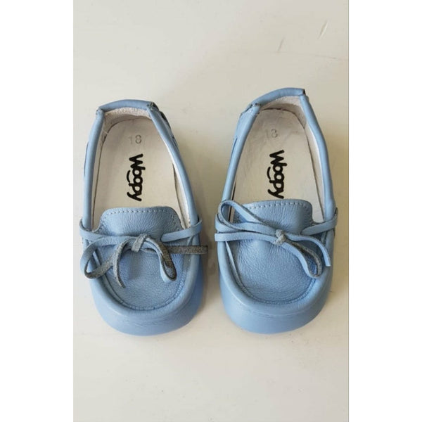 Woopy Leather Bebe Loafers Baby Blue