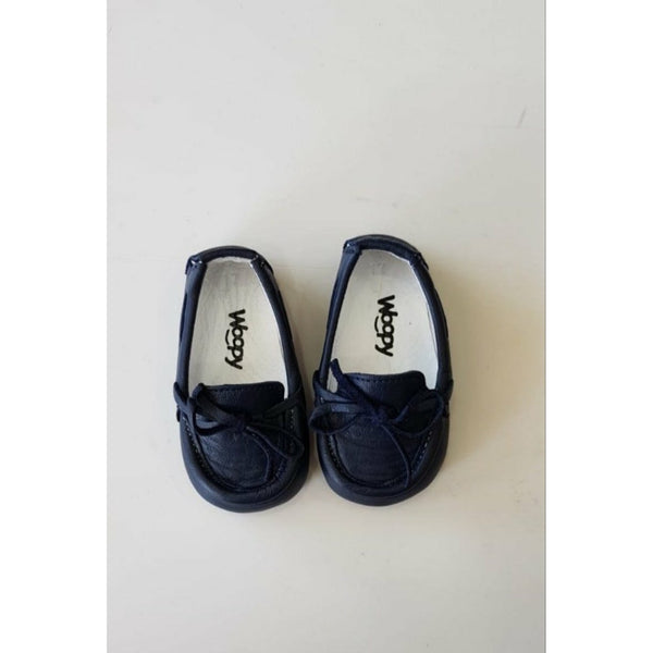 BEBE NAVY LEATHER LOAFERS