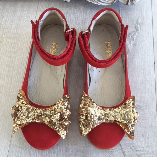 Woopy Suede Clara Shoes Red & Gold