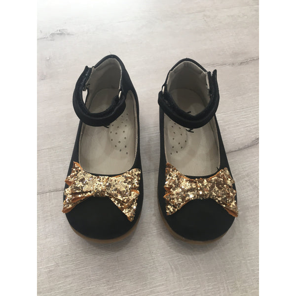 CLARA SUEDE SHOES - BLACK & GOLD
