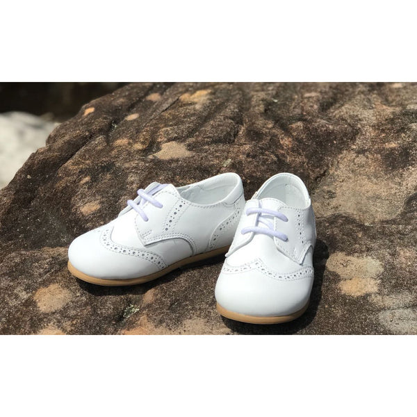 OXFORD LACE UP LEATHER SHOES - WHITE