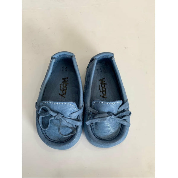 BEBE DENIM BLUE LEATHER LOAFERS