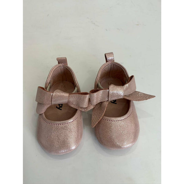ROSEBUD LEATHER SHOES - POWDER