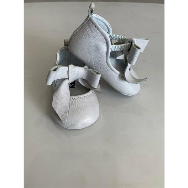 Woopy Leather Rosebud Shoes Pearl White