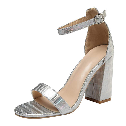 Ladies Casual Ankle Pearl Strap Open Side Cutout High Heel Summer Shoe TTINAF Women Pointed Chunky Sandals