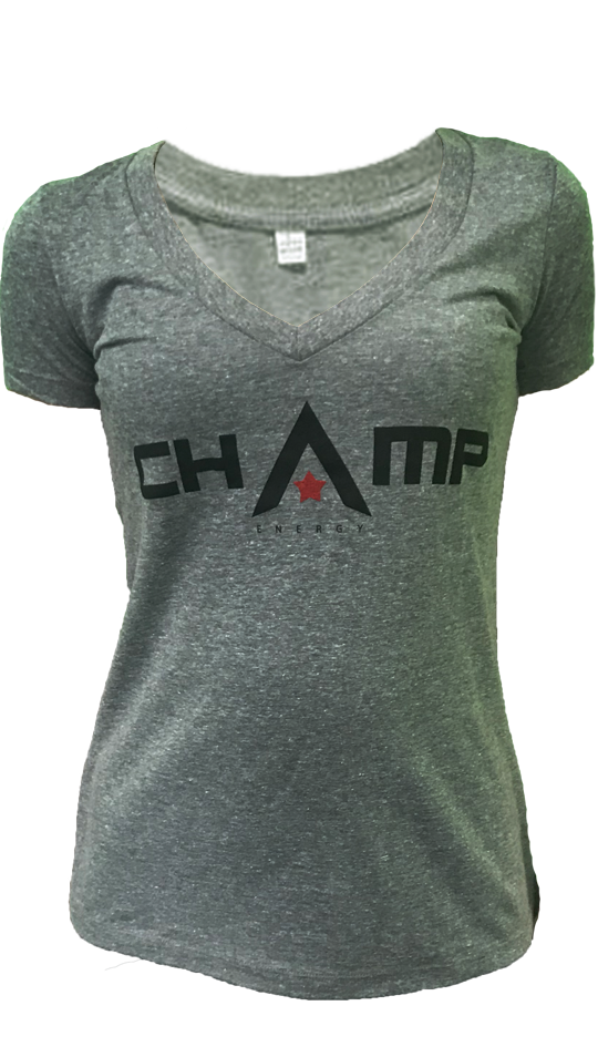 Womens Heather Gray V-Neck