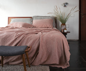 Terracotta Linen Bed Set