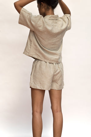 Undyed Linen Shorts Set