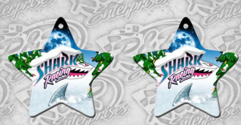 Shark Racing Christmas Ornaments