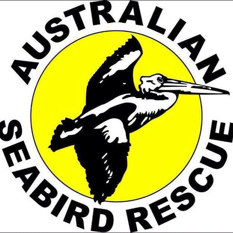 Australian seabird rescue logo pelican with a yellow and white background