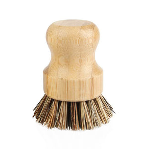 wooden pot bursh with natural bristles on white background
