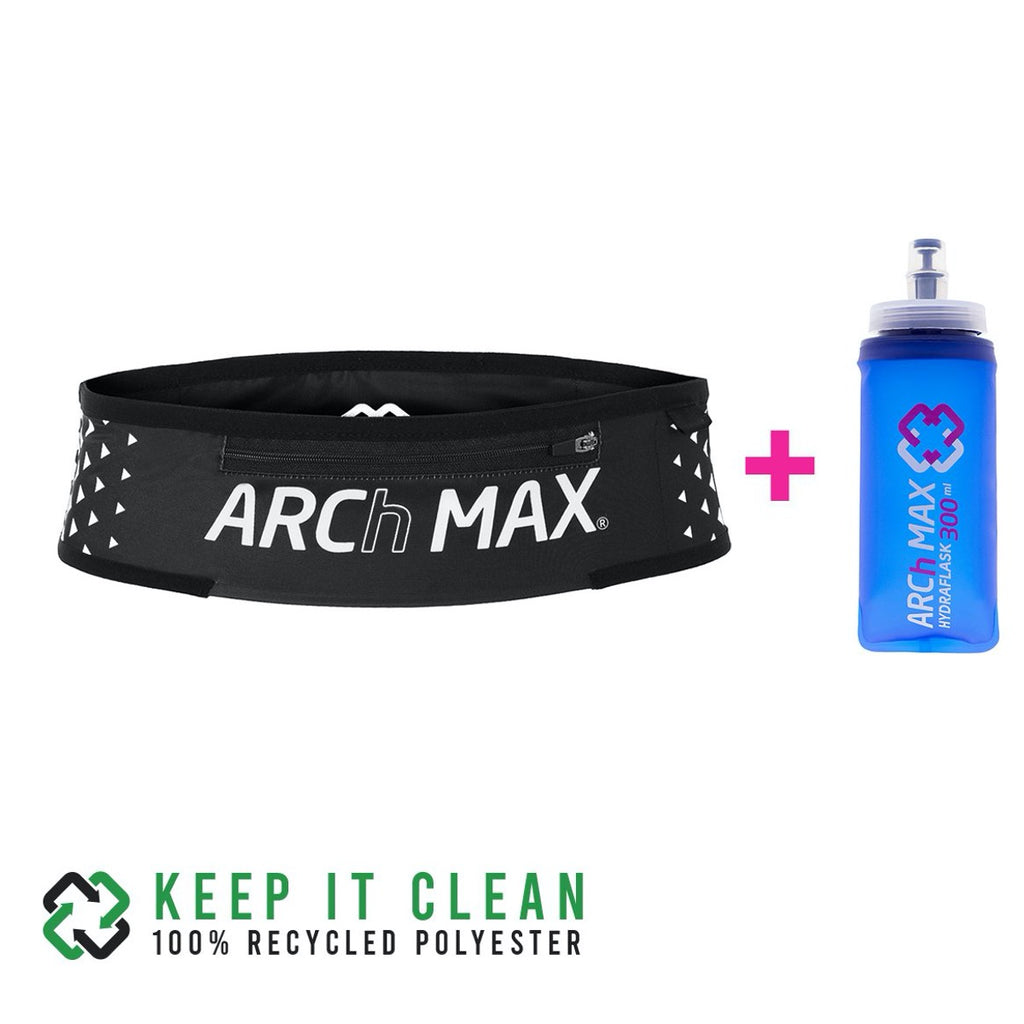 Cinturon de running Archmax Belt Pro Trail Zip Black + Hydraflask 300ml