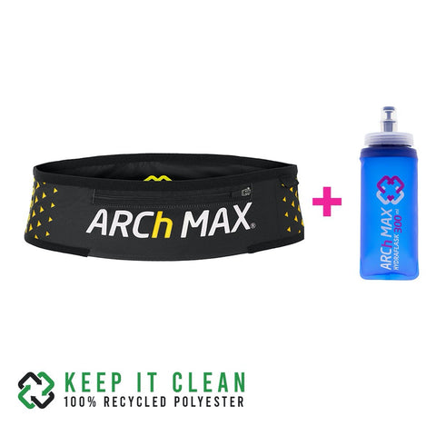 Cinturon de running Archmax Belt Pro Trail Zip Yellow + Hydraflask 300ml