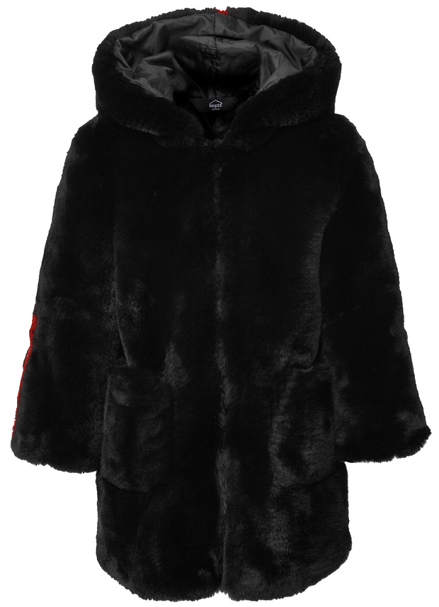 KIDS FAUX FUR BLACK COAT - HOJ