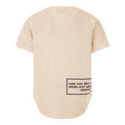GIRLS CREAM OVERSIZED TEE SHORT SLEEVED T-SHIRT WITH FRONT TEXT - houseofjrs