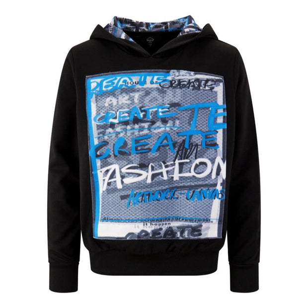 BOYS BLACK 'CREATE FASHION PRINT' HOODIE  WITH BACK PRINT AND DETAILED LINING freeshipping - HOJ