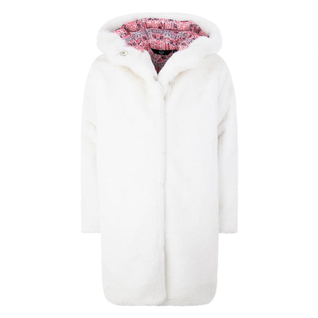 GIRLS REVERSIBLE WHITE FAUX FUR COAT WITH OVERSIZED HOOD AND DETAILED LINING - houseofjrs