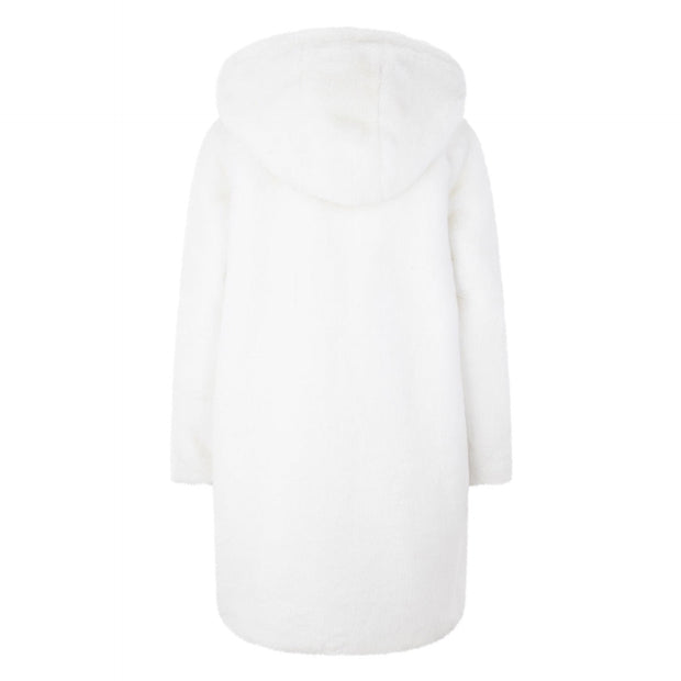 GIRLS REVERSIBLE WHITE FAUX FUR COAT WITH OVERSIZED HOOD AND DETAILED LINING freeshipping - HOJ