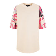 GIRLS CREAM OVERSIZED DRESS WITH CREATIVE ART PINK AND BLACK PRINT ON ARMS AND BACK freeshipping - HOJ