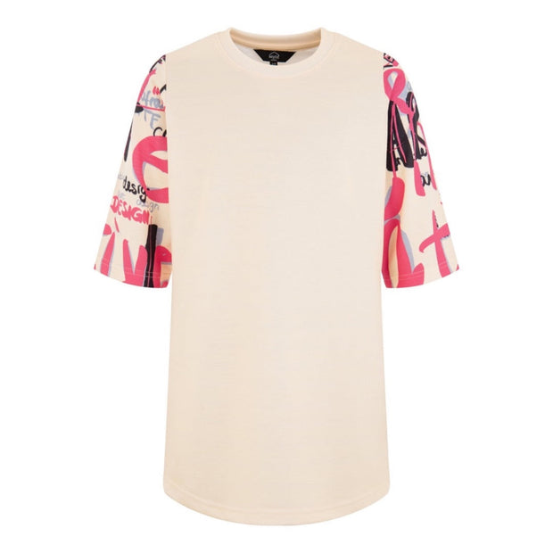 GIRLS CREAM OVERSIZED DRESS WITH CREATIVE ART PINK AND BLACK PRINT ON ARMS AND BACK - houseofjrs