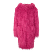 GIRLS HOT PINK FAUX FUR COAT WITH PINK AND ARTSY PRINT WORK CANVAS BACK - houseofjrs
